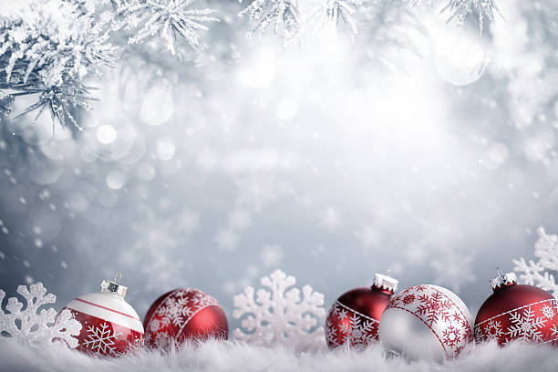 Christmas balls in winter setting,Winter holidays concept.